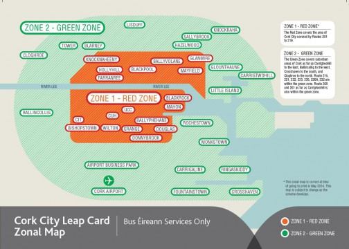 Leap Card Zonal Map Cork City