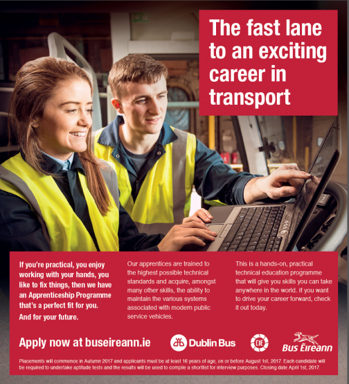 Bus Éireann, the national bus and coach company and Dublin Bus, which operates bus services in the greater Dublin Area are now seeking to recruit apprentice heavy vehicle mechanics in Dublin, Cork, Waterford, Rosslare, Stranorlar, Ballina, Limerick, Thurles, Tralee, Galway, Athlone, Longford
