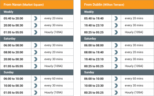 timetables from Navan to Dublin and return