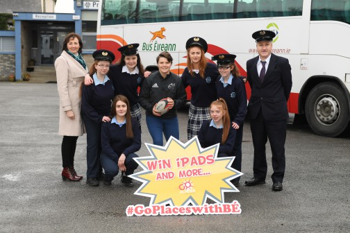 Irish Women's Rugby captain Ciara Griffin with students from Presentation secondary school, Castle Island to promote Bus Éireann's 'Go Places' competition. The competition invites TY students to share their memories of their journey to school. Deadline for entries is March 16. Pictured with Kerry native Ciara Griffin, captain of the Irish Women's Rugby team are TY students FRONT L/R Edel Brosnan and Ciara Fitzgerald . Back L/R Catriona Brodrick School Principal , Leanne Sugrue , Lisa Brosnan, Kayla O'Connor , Lizzie May Hartnett and Mike Tither Bus Éireann Bus Driver. For more information see www.goplaceswithbe.ie