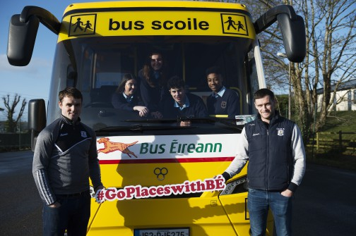 St Brigid's College in Loughrea TY students Megan Molloy, Denise Alvers with Filipe Viera and Samuel Ukaj and teachers Johnny Coen, and David Burke promote Bus Éireann's 'Go Places' competition for Transition Year Students. The competition invites TY students to share their memories of their journey to school. Deadline for entries is March 16. For more information see www.goplaceswithbe.ie