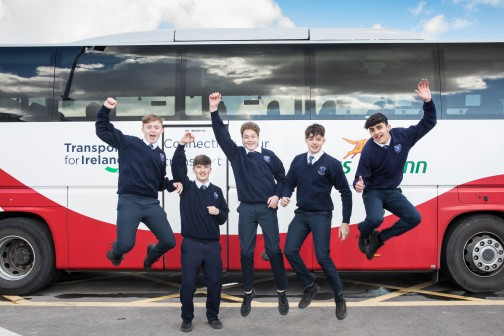 The East Winner of the Bus Éireann 'Go Places' competition for transition year students is Ruairi Meehan from Dunshaughlin Community College, Co. Meath. Pictured is Ruairi with his trophy and his class friends, Adam Kennedy, Colin Dharsan, Mark O'Brien & Kyle Roche. Ruairi won a brand new iPad and a trophy.