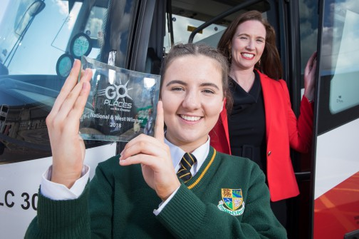 Transition year student Alannah Doherty from Blacklion, Co Cavan has been named national winner of the inaugural Bus Éireann 'Go Places' Competition. The competition invited TY students from around the country to submit projects – in words, photographs, or videos – about their journey to school. In an humorous photo essay, Alannah detailed her journey to school from her home in Blacklion, starting outside Neven Maguire's famous restaurant MacNean House & Restaurant and travelling along the picturesque Lough MacNean, to St Clare's Comprehensive School in Manorhamilton, Co. Leitrim. Alannah won an iPad and a trip to Tayto Park for her class. There were three regional winners, Alannah in West, Ruairi Meehan in the East, and Jane Tiernan in the South. Pictured with Alannah in Bus Éireann headquarters in Broadstone is Nicola Cooke, Bus Éireann Media & PR Manager. The competition will run again in 2019. For more information visit www.goplaceswithbe.ie