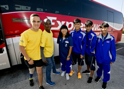 BusEireann/Expressway & The IWAS World Youth Games. Pictured from left is Emile Burgers, Tebogo Mofokeng from South Africa with Prakaithip Chaiwong, Kantinan Khumphong, Mueangprathum Teppitak and Monruedee Kangpila all from Thailand