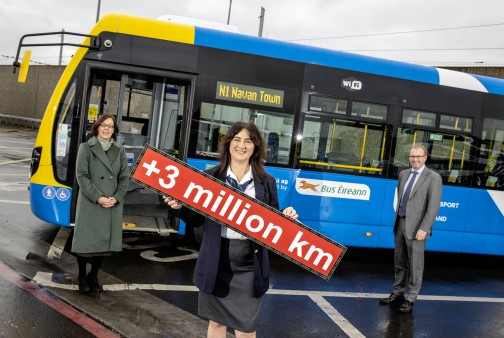Image: Anne Graham CEO of NTA with Bus Driver Rhonda Byrne and CEO Bus Éireann Stephen Kent - new and increased frequency in routes totals additional 3 million kilometres a year